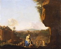 diana im bade (or circle of daniel verbruggen) by cornelis van poelenburgh