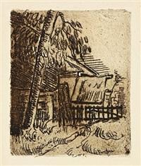 paysage a auvers - entree de ferme, rue saint-rémy by paul cézanne