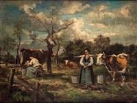 campesinas con ganado en un paisaje by marie-abraham rosalbin de buncey
