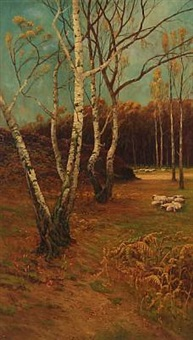 forest scene at autumn time by john miller