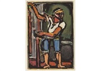 pecheur (+ another; set of 2 from passion) by georges rouault