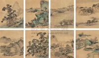 四时山水 (landscapes in four seasons) (album w/ 8 works) by tang dai