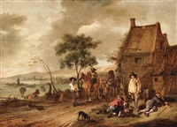 peasants and horsemen before a tavern by philips wouwerman
