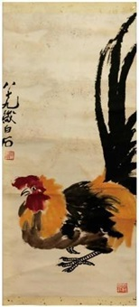 公鸡图 by qi baishi