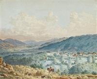 südliche landschaft mit reiter und drei packeseln by johann-salomon hegi