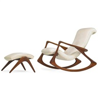 rocking chair, no. 175f and ottoman (2 works) by vladimir kagan