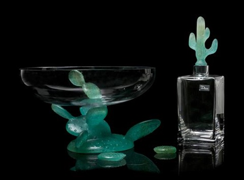 two daum pate de verre mounted glass articles