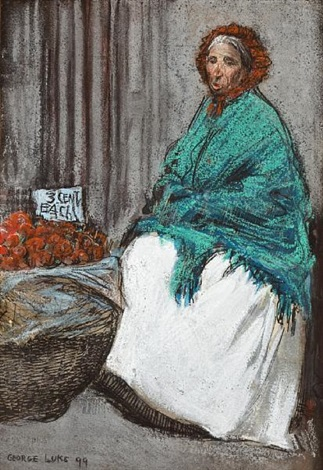 the apple seller woman in a polka dot dress pencil and ink on paper lrgr 2 works by george benjamin luks