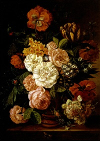 still life with roses, peonies and tulips on a ledge by francois gabriel