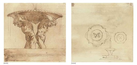 design for a fountain supported by two male nudes further plans for a fountain pen and ink verso by gian lorenzo bernini