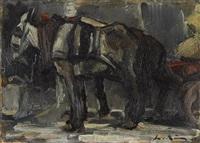 zwei esel mit karren by leo von könig