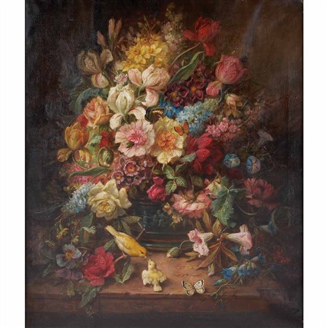 Still Life With Spring Flowers Two Birds And Butterflies Von Hans