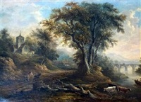 landscape with cattle, church and figures on a bridge in the distance by patrick nasmyth
