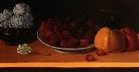 stilleben mit kirschen, äpfeln, nelkenstrauß und glas by friedrich gerbig