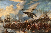 a naval battle by cornelis de wael