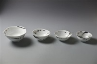 青白釉系列白金碗 (set of 4, various sizes) by takeshi yasuda