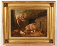 children feeding pigs by george morland