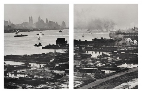 the hudson river and lower manhattan from above 2 works by andreas feininger