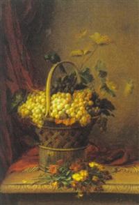 opstilling med kurv, druer, blomster og fugl by jean baptiste (joannes) cornillon