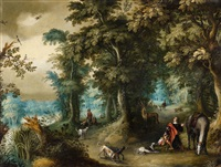a forest landscape with saint hubert by alexander keirincx