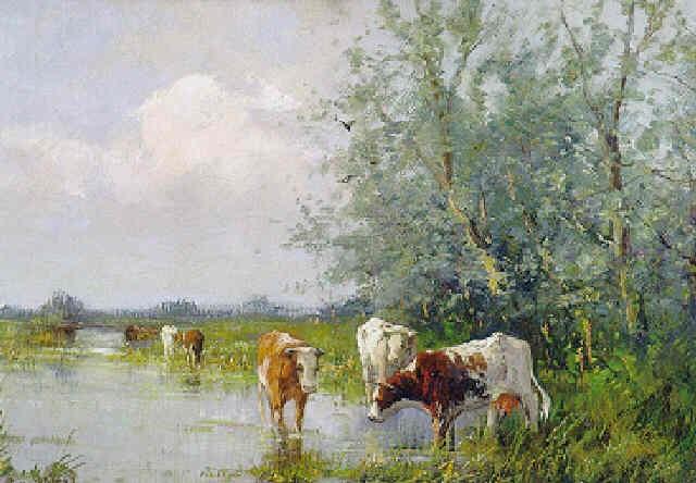 kühe an der tränke by carl eric van arkel