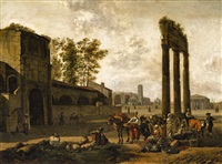 architectural capriccio with market scene by gerrit adriaensz berckheyde