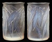 laurier vase (pair) by rené lalique
