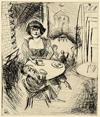 im café (selbstbildnis am tisch) by karl schwesig