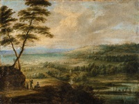 a panoramic landscape with a windmill by lucas van uden