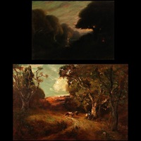 pastoral scene (+ sunset at the lake cabin, smllr; 2 works) by jules r. mersfelder