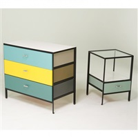 steel frame dresser and nightstand by george nelson