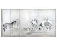 five horses (6-panel screen) by kano yasunobu