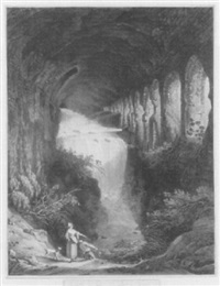 cascata in villa mecenate a tivoli by jean-baptiste-louis hubert