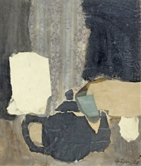 komposition mit schwarzem teekrug by hans schärer