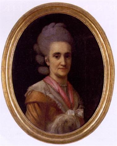 portræt af en dame i rosa kjole by virgilius erichsen
