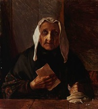 gammel kone med et brev (an old woman with a letter) by jorgen aabye