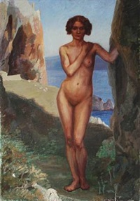 a nude female in an southern european landscape with cliffs by jorgen aabye