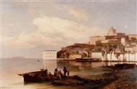 marstrands fästning - i förgrunden fiskare vid båt by marina kylberg