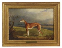a greyhound in a landscape by george henry laporte