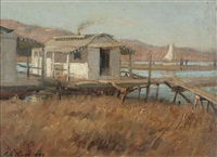 fishing shacks and sailboat, southern california by charles s. ward