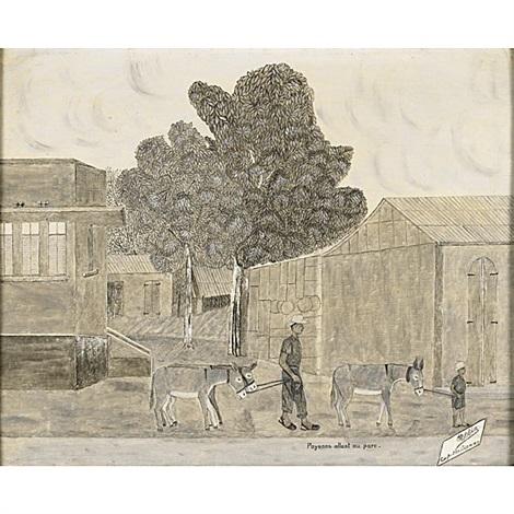 paysans allant au parc by philomé obin