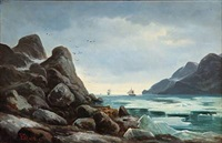 drift ice (norwegian coast scene with ice at tall rocks) by edvard skari