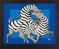 playful zebras (blue/black) by victor vasarely