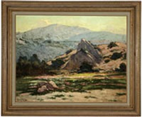 rocks in a blooming foothill landscape by henry leopold richter