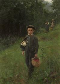 junge mit tasse und korb auf einer wiese by wilhelm g. hasemann