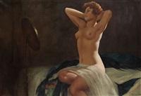 weiblicher akt, sich im spiegel betrachtend by eduard ansen-hofmann