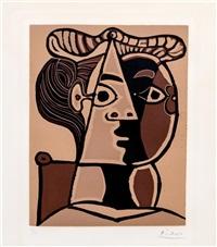 femme assise au chignon by pablo picasso