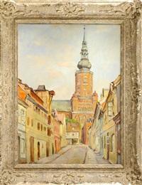 altstadt-gasse mit blick auf einen oktogonalen kirchturm by willi gericke and hans zank