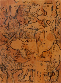 mixed media composition with royalty, horses, and birds in an abstract composition by sadegh tabrizi