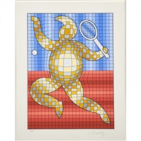 tennis player; golfer (2 works) by victor vasarely